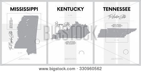 Vector posters with highly detailed silhouettes of maps of the states of America, Division East South Central - Mississippi, Kentucky, Tennessee - set 11 of 17 stock photo