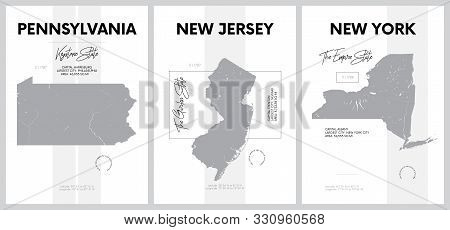 Vector posters with highly detailed silhouettes of maps of the states of America, Division Mid-Atlantic - Pennsylvania, New Jersey, New York - set 3 of 17 stock photo