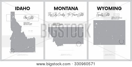 Vector posters with highly detailed silhouettes of maps of the states of America, Division Mountain - Idaho, Montana, Wyoming - set 15 of 17 stock photo