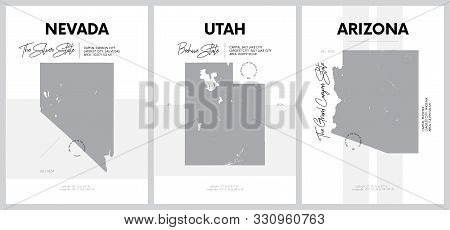 Vector posters with highly detailed silhouettes of maps of the states of America, Division Mountain - Nevada, Utah, Arizona - set 14 of 17 stock photo