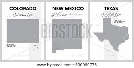 Vector posters with highly detailed silhouettes of maps of the states of America, Division Mountain and West South Central - Colorado, New Mexico, Texas - set 13 of 17 stock photo
