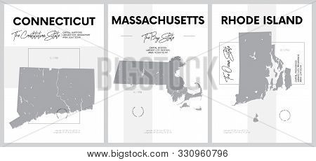 Vector posters with highly detailed silhouettes of maps of the states of America, Division New England - Connecticut, Massachusetts, Rhode Island - set 2 of 17 stock photo