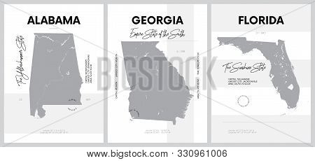 Vector posters with highly detailed silhouettes of maps of the states of America, Division South Atlantic and East South Central - Alabama, Georgia, Florida - set 10 of 17 stock photo