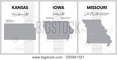 Vector posters with highly detailed silhouettes of maps of the states of America, Division West North Central - Kansas, Iowa, Missouri - set 6 of 17 stock photo
