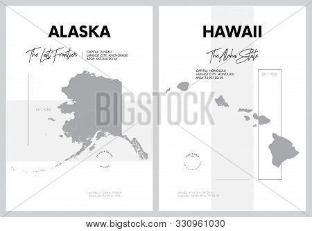 Vector posters with highly detailed silhouettes of maps of the states of America, Division Pacific - Alaska, Hawaii - set 17 of 17 stock photo