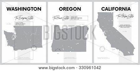 Vector posters with highly detailed silhouettes of maps of the states of America, Division Pacific - Washington, Oregon, California - set 16 of 17 stock photo