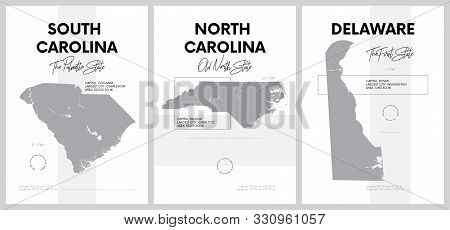 Vector posters with highly detailed silhouettes of maps of the states of America, Division South Atlantic - South Carolina, North Carolina, Delaware - set 9 of 17 stock photo