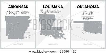 Vector posters with highly detailed silhouettes of maps of the states of America, Division West South Central - Arkansas, Louisiana, Oklahoma - set 12 of 17 stock photo