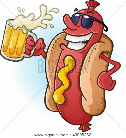 A hot dog character in sunglasses, partying the night away while drinking a tall cold mug of beer! stock photo