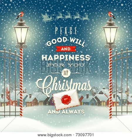 Christmas greeting type design with vintage street lantern against a evening rural winter landscape