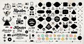 Set of Vintage Hipster Labels, Anchors, Arrows, Deer Antlers, Ribbons, Frames and Icons. Vector Retr