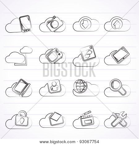 cloud services and objects icons - vector icon set stock photo