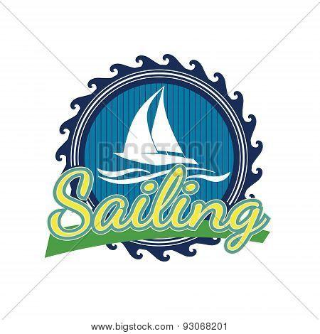 Blue sailor's logo in a retro style stock photo