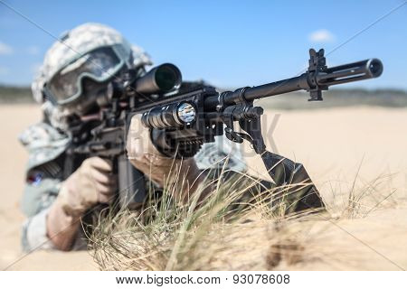 United States airborne infantry marksman in action stock photo