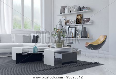 Modern homely living area with white decor with black furniture highlights with a comfortable corner couch, contemporary armchair and shelves of personal photos and mementos. 3d Rendering stock photo