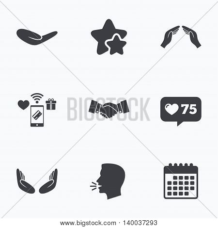 Hand icons. Handshake successful business symbol. Insurance protection sign. Human helping donation hand. Prayer meditation hands. Flat talking head, calendar icons. Stars, like counter icons. Vector
