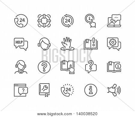 Simple Set of Help and Support Related Vector Line Icons. Contains such Icons as Phone Assistant, Online Help, Video Chat and more. Editable Stroke. 48x48 Pixel Perfect.