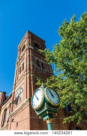 Town Clock by Brick Bell Tower in Charlottetown stock photo