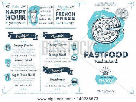restaurant menu design fast food cafe menu food menu template