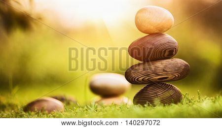 Natural background of balance and harmony, natural stones made of wood