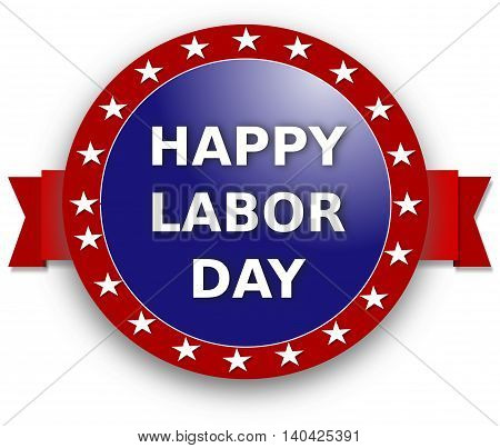 Happy Labor Day, blue and red banner with stars