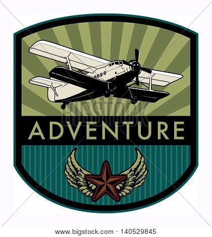 Adventure with airplane label or symbol, vector illustration stock photo
