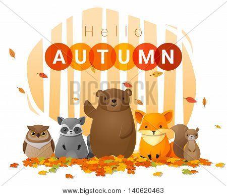 Hello autumn background with wild animals , vector , illustration