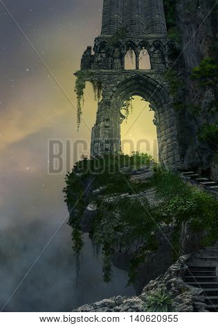 Fantasy gateway ruin in a mountain and landscape with fog