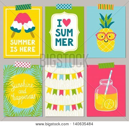 Vector set of bright summer cards. Beautiful summer posters with pineapple, lemonade, ice cream, sun, palm leaves, phrases Summer is here, Sunshine and happiness, I love summer. Journal cards.