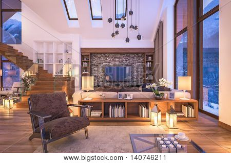 3D rendering of cozy living room on cold winter night in the mountains evening interior of chalet decorated with candles fireplace fills the room with warmth. stock photo