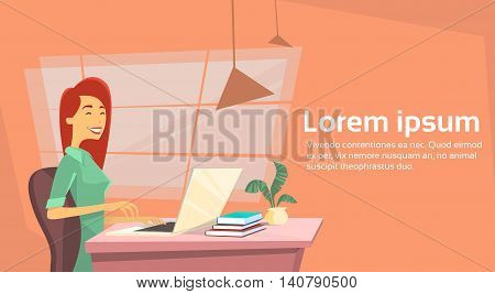 Casual Business Woman Sitting at Desk in Office Working Laptop Computer Vector Illustration