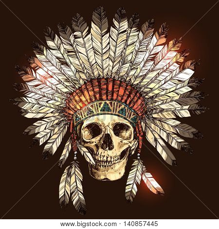 Hand Drawn Native American Indian Headdress With Human Skull. Vector Color Illustration Of Indian Tribal Chief Feather Hat And Skull stock photo