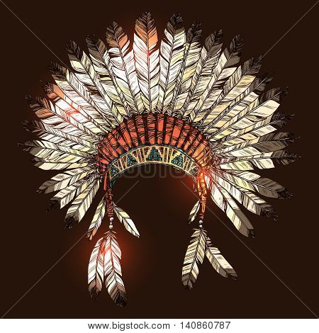Hand Drawn Native American Indian Headdress. Vector Color Illustration Of Indian Tribal Chief Feather Hat stock photo