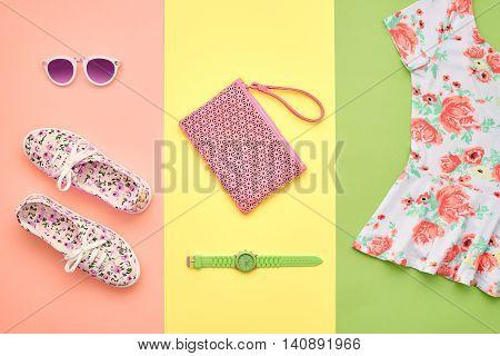 Fashion. Clothes Accessories fashion Set. Trendy Wrist Watches, Stylish woman dress, Summer accessories, Glamor Sunglasses, Gumshoes. Summer fashion girl Outfit, accessories. Fashion summer Overhead