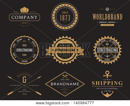 Retro or vintage, old banners and labels, symbol or insignia, badge for company or business logotype with crown and bike, street racing and ship wheel, axe and anchor, arrows and ribbon stock photo