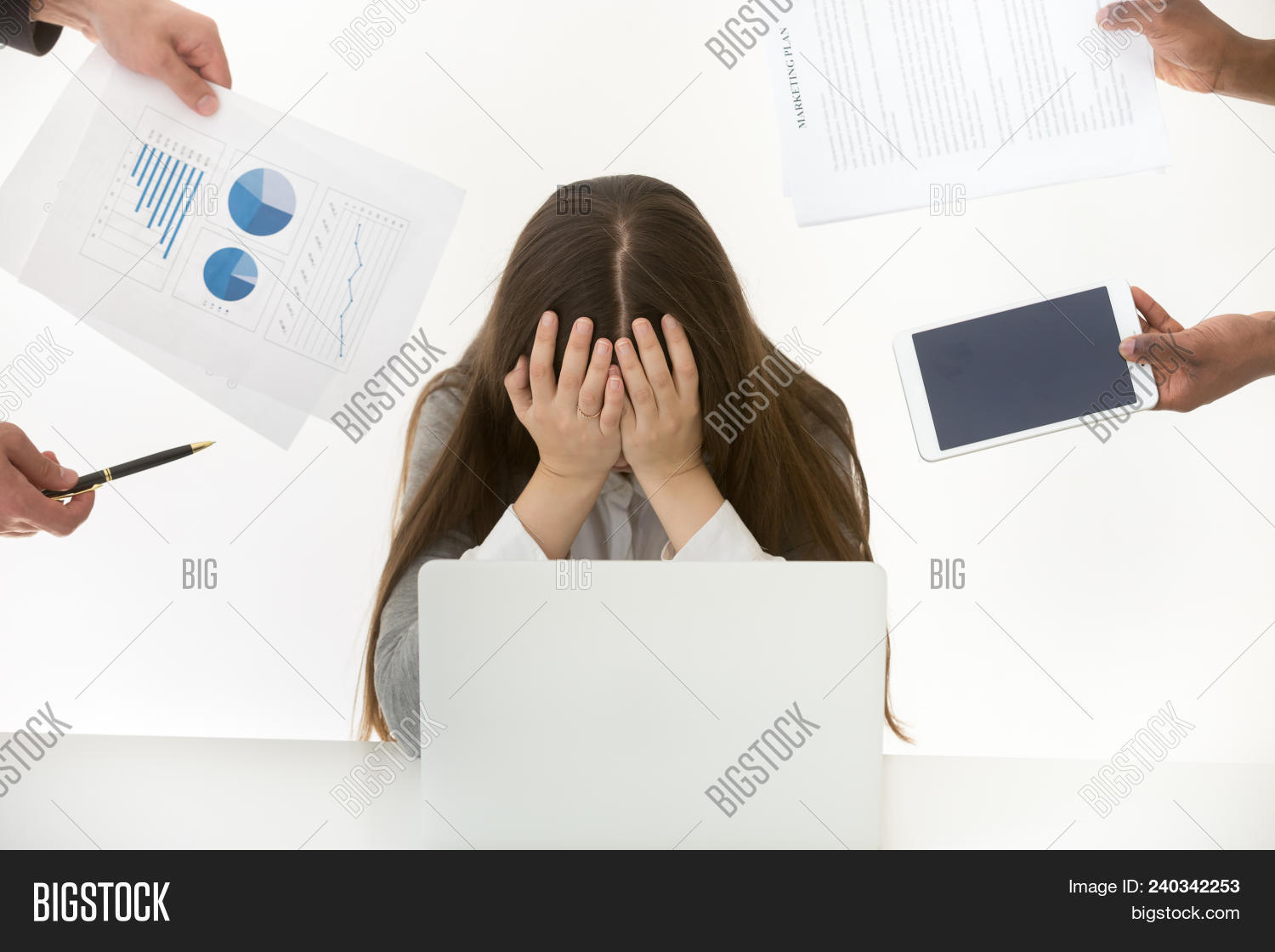 Stressed Frustrated Businesswoman Feels Exhausted At Multi Task Work, Tired Overloaded Woman Employe