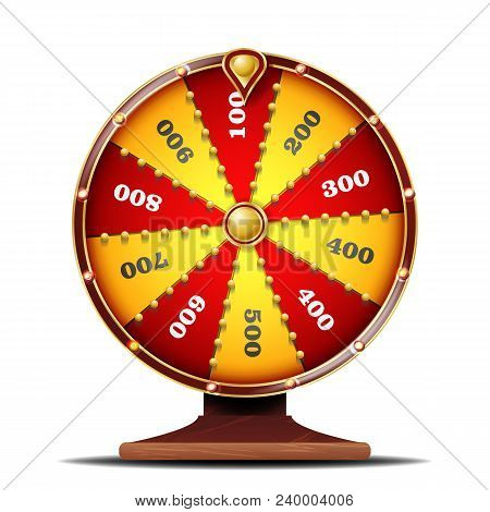 Fortune Wheel Vector. Spinning Lucky Roulette. Lottery Luck. Illustration stock photo