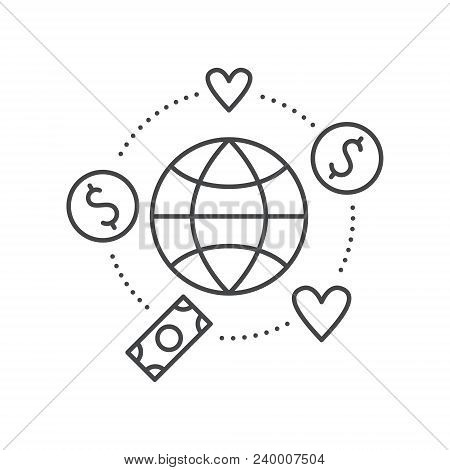 Globe surrounded by hearts and money - concept for donations, charity, fundraising. Vector line style label for non-profit organization or fundraising event. stock photo