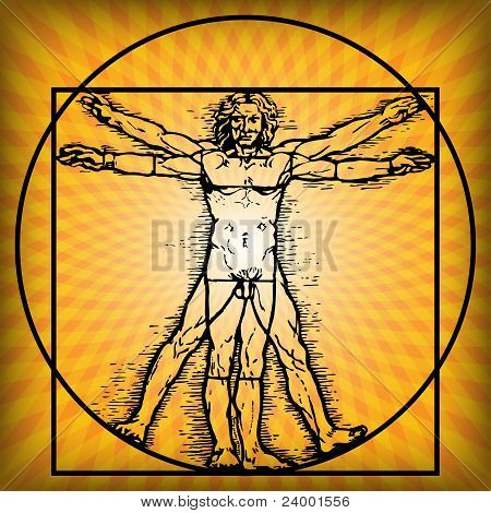 Illustration of a man who uses the benefits of the Sun. stock photo