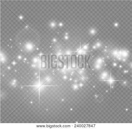 White sparks and golden stars glitter special light effect. Vector sparkles on transparent background. Christmas abstract pattern. Sparkling magic dust particles stock photo