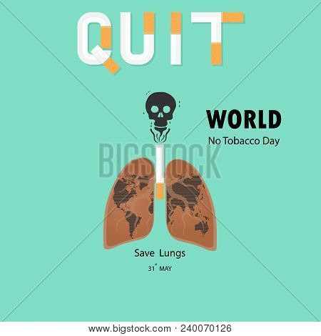 Lung and cigarette icon with Stop Smoking vector logo design template.May 31st World no tobacco day concept.No Smoking Day.No Tobacco Day Awareness Idea Campaign.Vector illustration. stock photo