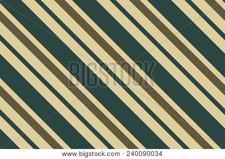 Seamless pattern. Dark green stripes on beige background. Striped diagonal pattern For printing on fabric, paper, wrapping, scrapbooking, banners Background with slanted lines Vector illustration stock photo