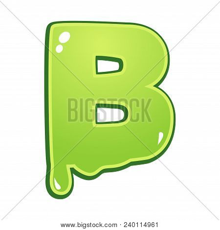 Slimy font type letter B isolated on white stock photo