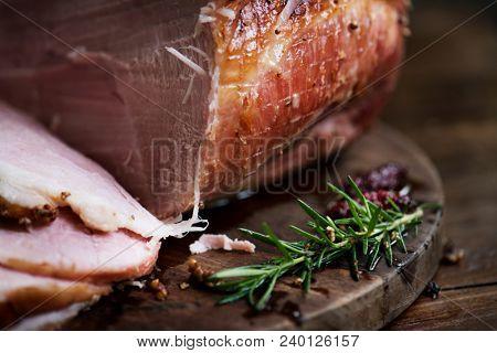 Roasted ham food photography recipe idea stock photo