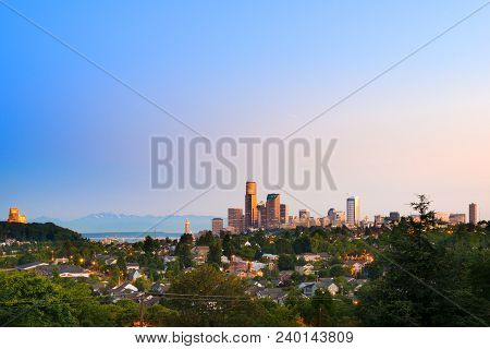 Central District Neighborhood and downtown of Seattle, Washington, USA stock photo