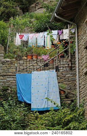 Drying clothes in the open space in Rupit (Spain) stock photo