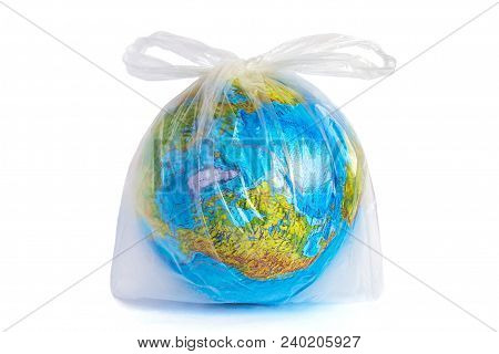 Model Planet Earth (globe) In Polyethylene Plastic Disposable Package, Isolated On White Background.