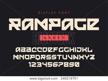 Vector modern heavy display font named Rampage, blocky typeface, futuristic uppercase letters and numbers, alphabet. Global swatches. stock photo