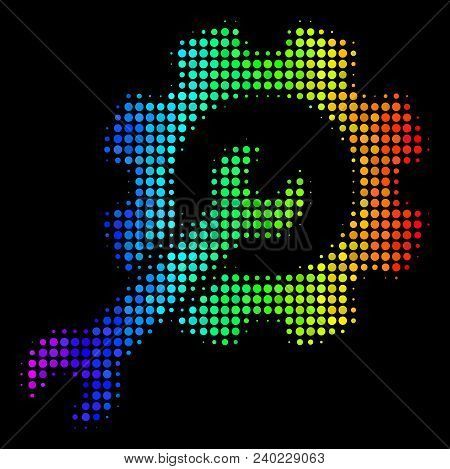 Dotted impressive halftone setup tools icon drawn with spectral color tones with horizontal gradient on a black background. Colored vector collage of setup tools symbol organized from circle points. stock photo
