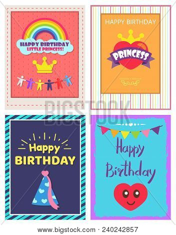 Happy Birthday princess, posters collection, rainbow and headline with men, heart and crown, celebration cap, isolated on vector illustration stock photo